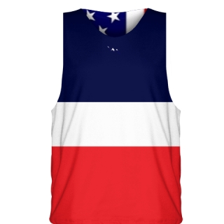 Red White and Blue Striped Basketball Jersey