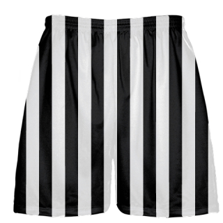 Black and White Striped Lacrosse Shorts