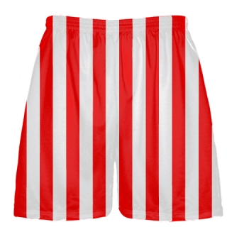 Lacrosse Shorts Red and White Striped