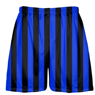 Royal Blue and Black Striped Lacrosse Shorts