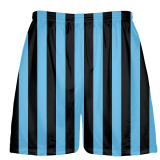 Black and Light Blue Stripe Lacrosse Shorts
