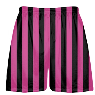 Black and Hot Pink Striped Shorts