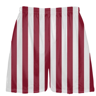 Maroon and White Stripe Shorts