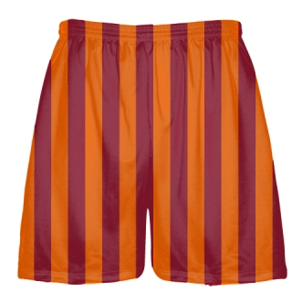 Tech Maroon and Orange Stripe Shorts
