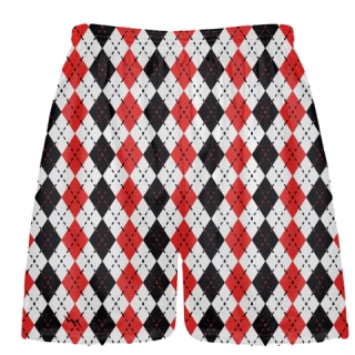 Boys Argyle Lacrosse Shorts - Red Black Argyle