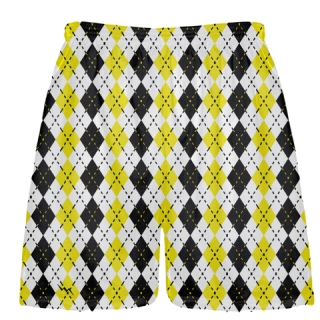Lacrosse Shorts Argyle yellow and black