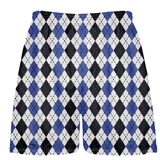 Royal Blue and Black Argyle Lacrosse Shorts