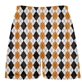 Orange and Black Argyle Lacrosse Shorts