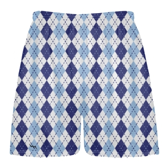 Navy Blue Powder Blue Argyle Shorts