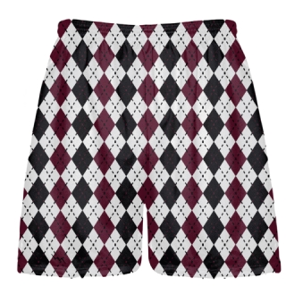 Maroon and Black Argyle Shorts