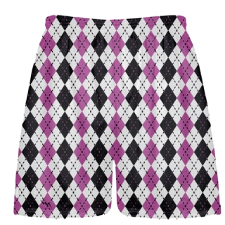 Hot Pink Black Argyle Lacrosse Shorts