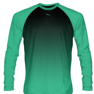 Teal and Black Long Sleeve Soccer Jersey