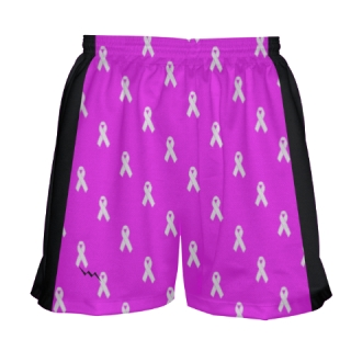 Girls Cancer Ribbon Lacrosse Shorts