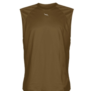 Brown Sleeveless Football Practice Shirts