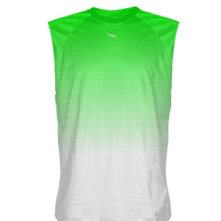 Neon Green to White Fade Sleeveless Shirts