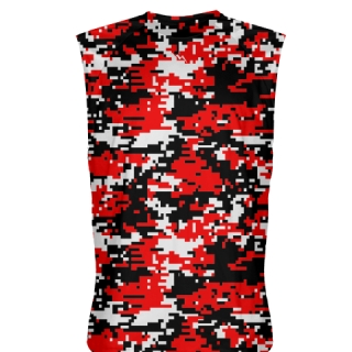 Red Black Digital Camo Sleeveless Shirts