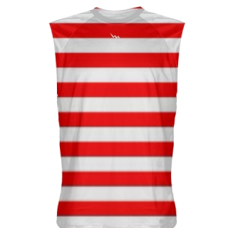 Red White Stripe Sleeveless Shirts