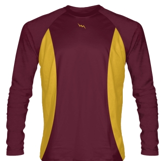 Maroon Long Sleeve Basketball Warmup Shirts