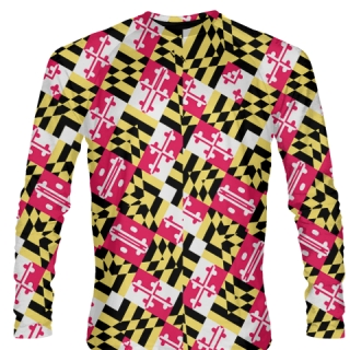Maryland Flag Design Long Sleeve Shirts