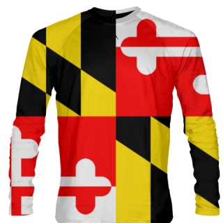 Maryland Flag Long Sleeve T Shirts