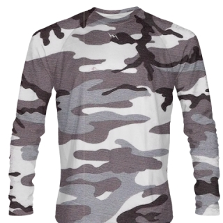 Gray Camouflage Long Sleeve Softball Jerseys