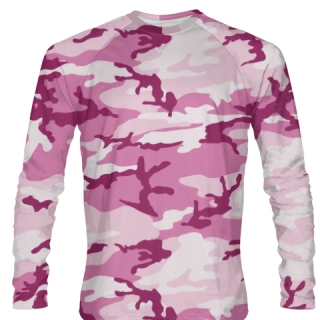 Pink Camo Long Sleeve Softball Jerseys