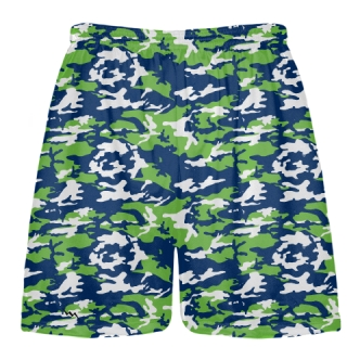 Neon Green Blue Camo Lacrosse Shorts