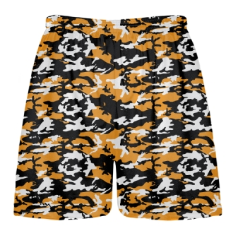 Orange Black Camouflage Lacrosse Shorts
