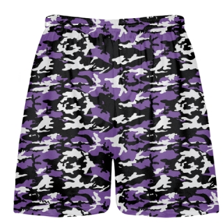Purple Black Camouflage Lacrosse Shorts