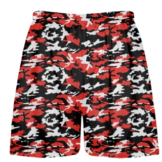 Red Black Camouflage Lacrosse Shorts