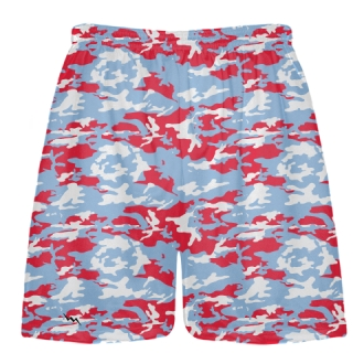 Light Blue Red Camouflage Lacrosse Shorts