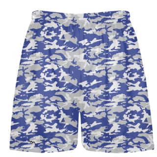 Royal Blue Silver Camo Lacrosse Shorts