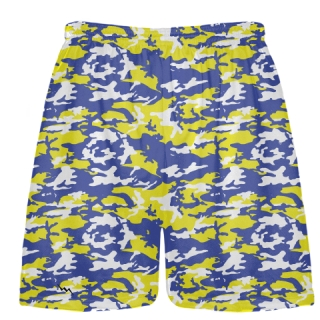 Royal Blue Yellow Camouflage Lacrosse Shorts