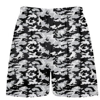 Black and Silver Camouflage Lacrosse Shorts