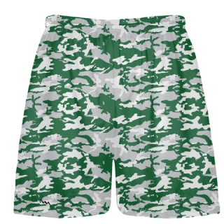 Dark Green Camouflage Lacrosse Shorts