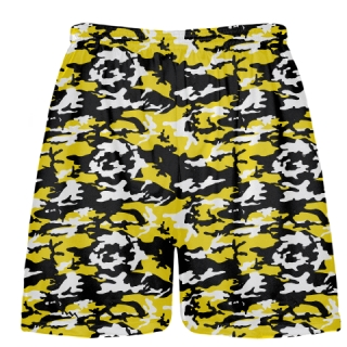Yellow Black Camouflage Lacrosse Shorts
