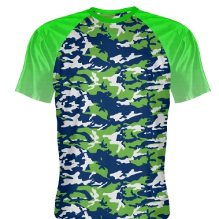 Blue Neon Green Camouflage Shooter Shirts