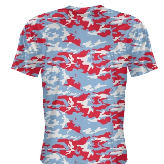 Blue Red Camouflage T Shirts