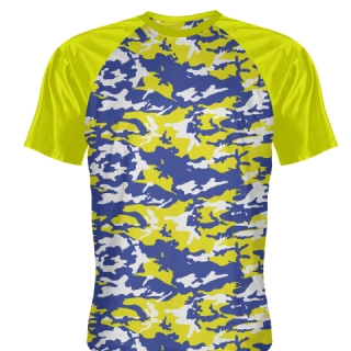 Blue Yellow Camo Shooting Shirts