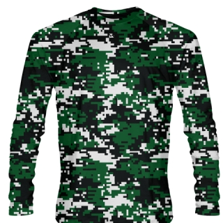 Dark Green Digital Camouflage Long Sleeve Shirts