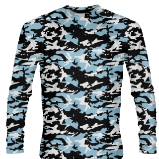 Long Sleeve Camouflage Shirts Powder Blue Black