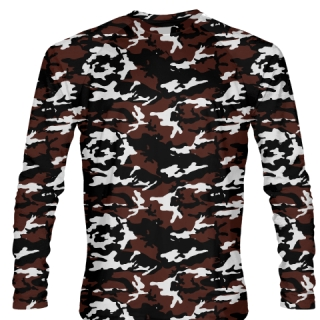 Maroon Black Long Sleeve Camouflage Shirts