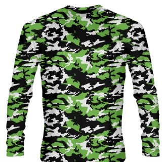 Neon Green Black Long Sleeved Camouflage Shirts