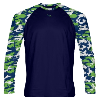 Neon Green Navy Blue Long Sleeve Camouflage Shirts