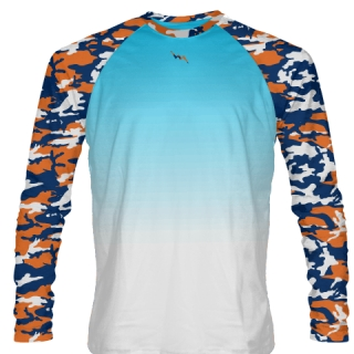 Orange Blue Long Sleeve Camo Shirts