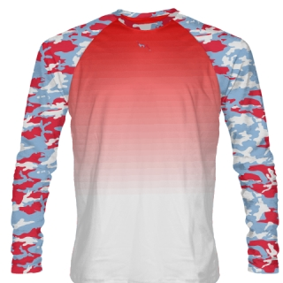 Long Sleeve Camouflage Shirts Red Blue