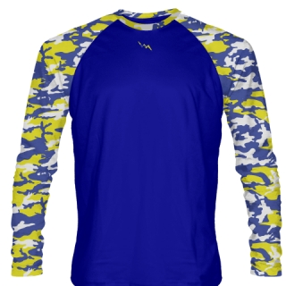 Long Sleeve Camouflage Shirts Blue and Yellow