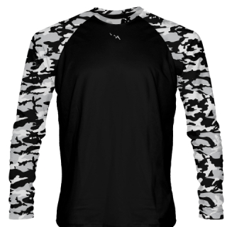 Long Sleeve Camouflage Shirts Black Gray