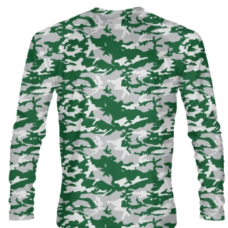 Long Sleeve Camouflage T Shirts Green Gray