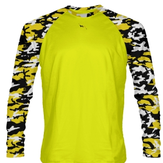 Long Sleeve Camouflage Shirts Yellow Black